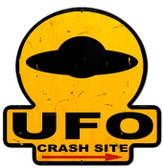 UFO Crash Site  Custom  Shape Metal Sign 16 x 16 Inches