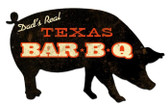 Texas BBQ Pig Custom Shape Metal Sign 26 x 15 Inches