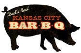 Kansas City BBQ Pig Custom Shape Metal Sign 26 x 15 Inches