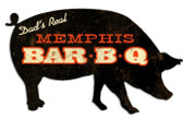 Memphis BBQ Pig Custom Shape Metal Sign 26 x 15 Inches