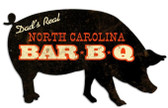North Carolina BBQ Custom Shape Metal Sign 26 x 15 Inches