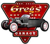 Hot Rod Garage Tin Sign - Personalized  14 x 15 Inches