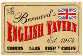 Old English Tavern Tin Sign - Personalized  18 x 12 Inches