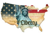 Liberty USA Custom Shape  Retro Metal Sign 25 x 16 Inches