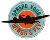 Retro  Spread Your Wings Custom  Shape Metal Sign 23 x 18 Inches
