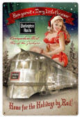 Burlington Christmas Train Metal Sign 24 x 36 Inches