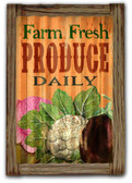 Farm Fresh  Corrugated Rustic Metal and  Barn Wood Sign 16 x 24 Inches