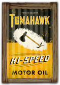 Tomahawk Oil  Corrugated Rustic Metal and  Barn Wood Sign 16 x 24 Inches