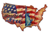 Land Of The Free USA Custom  Shape Metal Sign 25 x 16 Inches