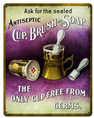 19 Cup Brush Soap Vintage Metal Sign 12  x 15 Inches