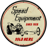 Vintage-Retro Speed Equipment Round Metal-Tin Sign
