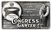 Congress Garter Vintage Metal Sign 14  x 8 Inches