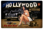 Here Kitty Kitty Hollywood Detective Pinup Girl Vintage Metal Sign 36  x 24 Inches