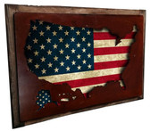 3d Usa Map Display Retro 3D Metal Sign 24  x 16 Inches