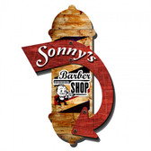 Retro Barber Shop 3D Metal Sign - Personalized 22 x 16 Inches