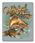 Trout Wicked Fish Metal Sign 12 x 15 Inches