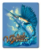 Sailfish Wicked Fish Metal Sign 12 x 15 Inches