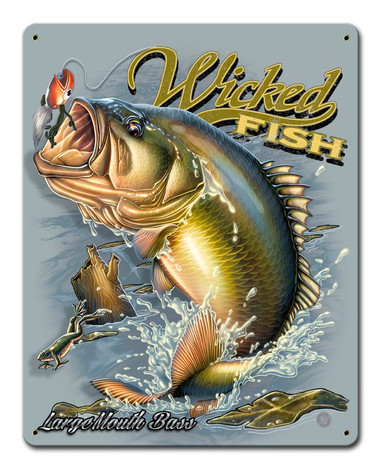 Large Mouth Bass Metal Sign 12 x 15 Inches