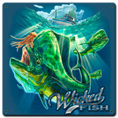 Fishing Mahi Wicked Fish Metal Sign 12 x 12 Inches