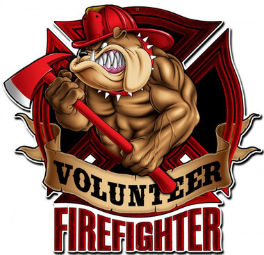 Firefighter Bulldog Metal Sign 18 x 18 Inches
