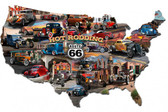 Hot Rod Route 66 Map Metal Sign 25 x 16 Inches