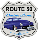 Mercury Cruisin' Route 50 shield Metal Sign 15 x 15 Inches