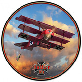 Fokker Tri-plane Round Metal Sign Round Metal Sign 14 x 14 Inches