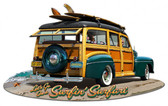 1947 Woodie Plasma Shape Metal Sign 15 x 9 Inches