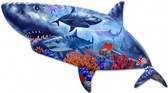 Shark Metal Sign 22 x 11 Inches