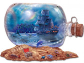 Ship & Moon Bottle Metal Sign 20 x 14 Inches
