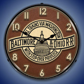 B&O Railroad 3 Lighted Wall Clock 14 x 14 Inches