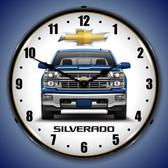 Chevrolet Silverado Blue Lighted Wall Clock 14 x 14 Inches