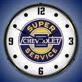 Chevrolet Super Service Lighted Wall Clock 14 x 14 Inches