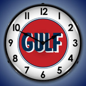 Gulf 1960 Lighted Wall Clock 14 x 14 Inches