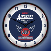Gulf Aircraft Engine Oil Lighted Wall Clock 14 x 14 Inches