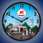 Mobil Station Lighted Wall Clock 14 x 14 Inches