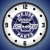 We Use Chevrolet Parts Lighted Wall Clock 14 x 14 Inches