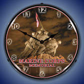 Marine Corps Memorial Iwo Jima Lighted Wall Clock 14 x 14 Inches