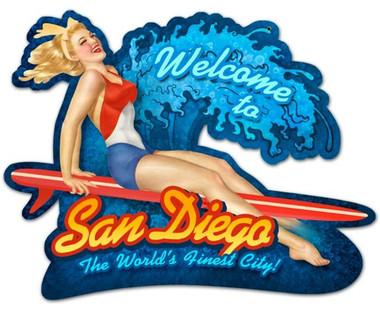 Vintage-Retro San Diego Surf Girl Custom Shape Metal-Tin Sign