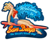 Vintage-Retro San Diego Surf Girl Custom Shape Metal-Tin Sign
