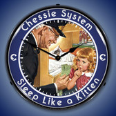 Chessie Sleep Like a Kitten Lighted Wall Clock 14 x 14 Inches