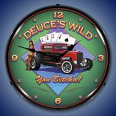 Deuces Wild Lighted Wall Clock 14 x 14 Inches