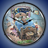 Eat Sleep Golf Lighted Wall Clock 14 x 14 Inches