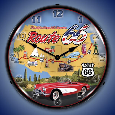 Route 66 USA Lighted Wall Clock 14 x 14 Inches