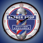 Barber Shop Lighted Wall Clock 14 x 14 Inches