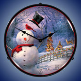 Snowman Greetings Lighted Wall Clock 14 x 14 Inches