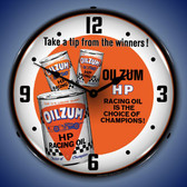 Oilzum HP Oil Lighted Wall Clock 14 x 14 Inches