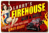 Vintage-Retro Firehouse Grill - Pin-Up Girl Metal Sign -  - Personalized