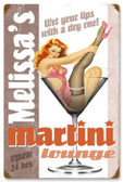 Vintage-Retro Martini Lounge Metal-Tin Sign - Personalized