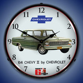 1964 Chevy II Nova Lighted Wall Clock 14 x 14 Inches